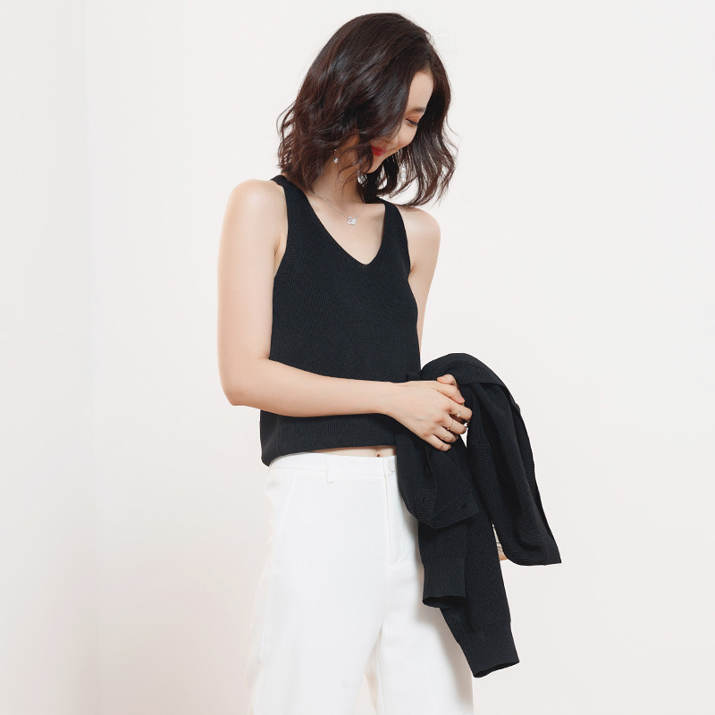 2019 New Arrival Autumn Sweatershirt  Female Korean Loose Outer Wear Sweater And Knitted Vest Two-Piece Suit For Women F831c