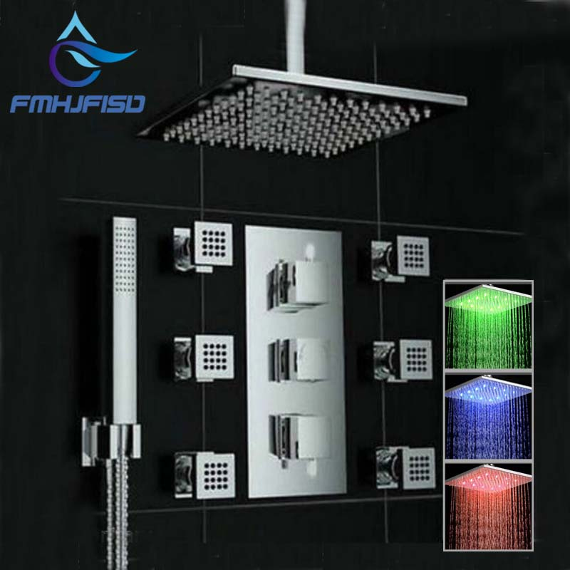 3 Color Changing Ceiling Mounted Square Rain Shower Head Thermostatic Valve Mixer Tap W/ Massage Jets Shower Sprayer