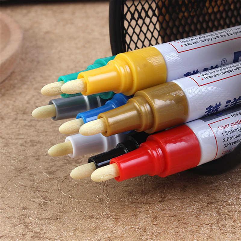 Nieuwe Voertuig Universele Waxen Spons Verf Pen Marker Waterdicht Metallic Kleuren Autobanden Metal Permanente Pennen 12 Kleuren
