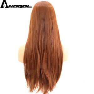 Image 4 - Anogol pomarańczowy kasztanowy czerwony wysoki temperatura włókna naturalne długie proste peruka syntetyczna dla pań dziewczyny kobiety z płaskim Bang Fringe