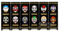 Office Table MINI Folding Screens 6 Joined Panels Decorative Painting Wood Byobu Types of Facial Make up in Beijing Opera