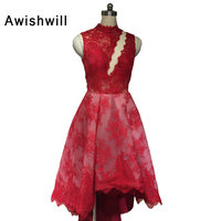 Fashion New Asymmetrical Lace Prom Dress Red High Neck Party Gown High Low Real Photo Special