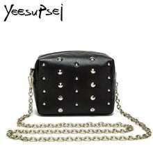 YeeSupSei Women Rivet Handbag Fashion Genuine Leather Shoulder Bags Femaler Shopping Zipper Chain Totes Women Banquet Handbag цена
