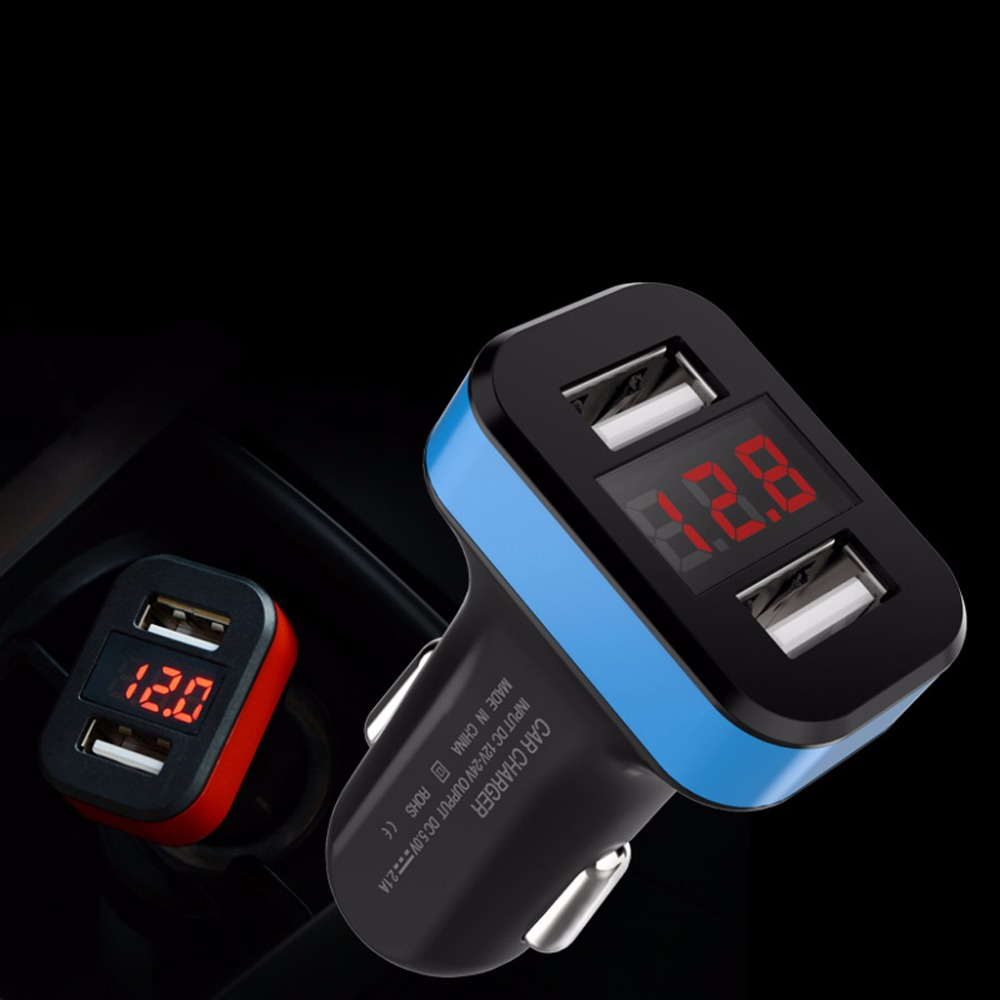 Car Chargers The Best 2-port Usb Car Charger Led Voltmeter Adapter For Iphone Samsung Lg Mobile Phone Mobile Phone Accessories