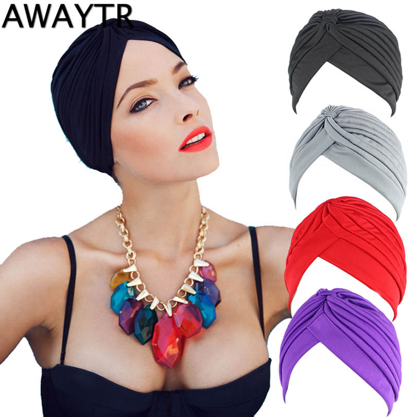 AWAYTR New Bandanas Headband Stretchy Turban Muslim Hat Headband Wrap Chemo Hijab Knotted Cap Adult Headband For Women