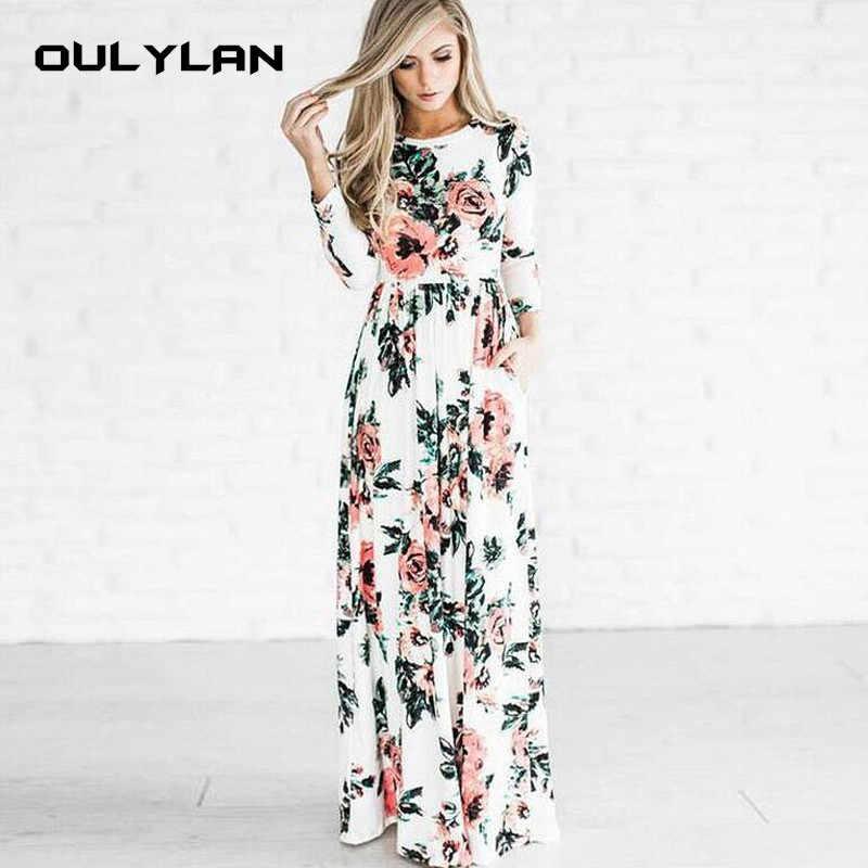 Oulylan סתיו חורף ארוך שמלת נשים פרחוני הדפסת Boho טוניקת מקסי ערב מסיבת שמלות גבירותיי מקרית רטרו Hippie Vestidos