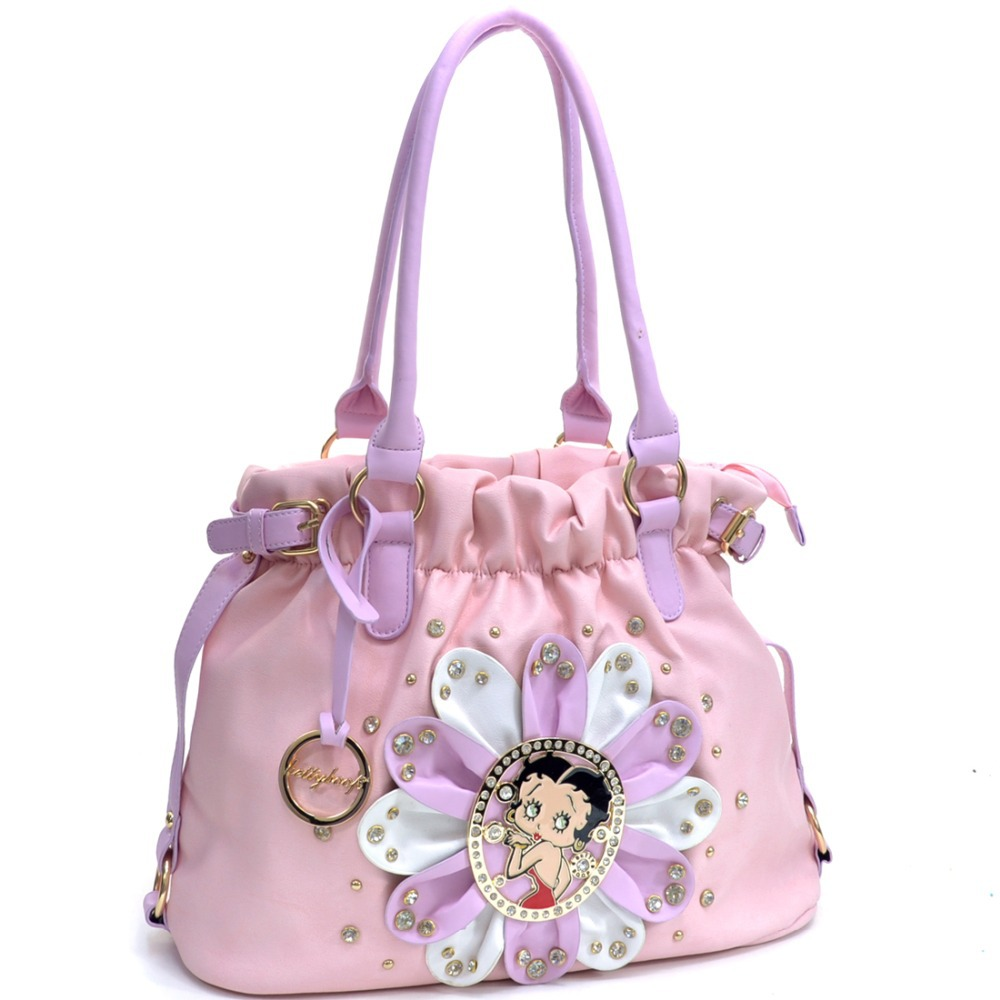 Betty Boop Bags Flower Flat Bottom Hobo Bag With Shoulder Strap Rhinestones Women Leather Handbags Studs In From Luggage On