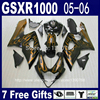 Injection Molded Custom Fairing Kit For SUZUKI K5 GSX R 1000 05 06 Brown Flames In
