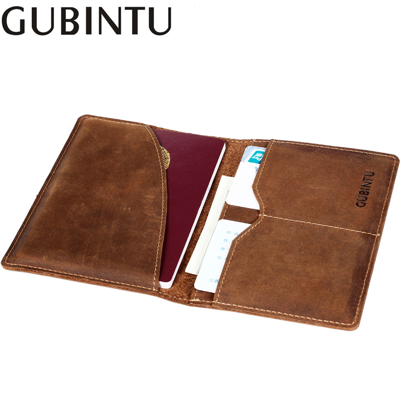 GUBINTU Genuine Leather Passport Cover Wallets Luxury Business For Men Vintage Brown Purse Card Holder