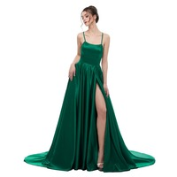 Sexy Green Backless Long Maxi Dress 2018 Satin with Spaghetti Straps Long Prom Party Dress Side Split Abendkleider Evening Gowns