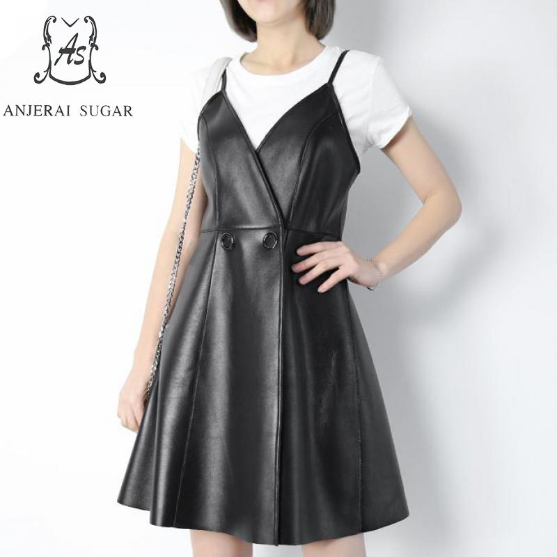 Spring Autumn Women's Genuine Leather Lambskin dress black Sexy V neck Button Femme female A line real leather Suspender dresses