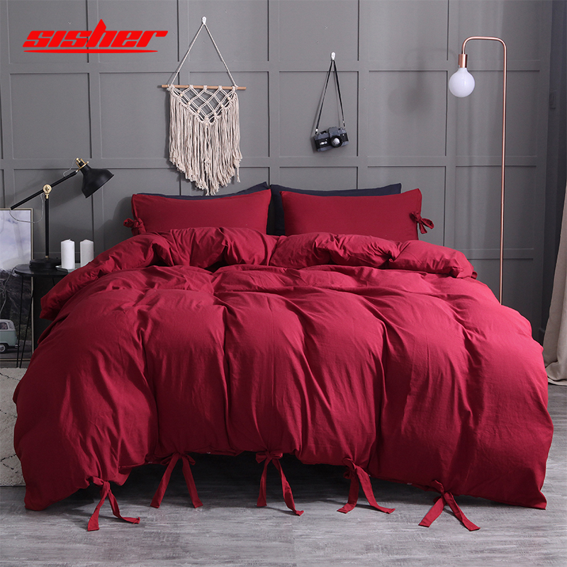 Sisher Solid Colors Bedding Set Faux Washed Cotton Soft Duvet Cover Sets With Pillowcase Single Twin Queen King Size Bedclothes