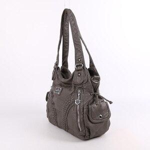 Image 2 - Модная высококачественная повседневная дизайнерская сумка хобо, женские сумки, сумки из мытой искусственной кожи, сумки слинги на плечо для женщин
