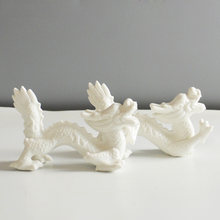 Ceramic Dragon Ornaments White Home Feng Shui lucky Dragon Crafts Gift Jewelry Furnishings Living Room Home Decoration(China)