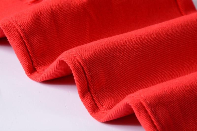 78a041a366 US Euro moda jeans para hombres de alta calidad lápiz pantalones de mezclilla  calle marca masculina elasticidad jean agujeros rojos en pantalones en ...