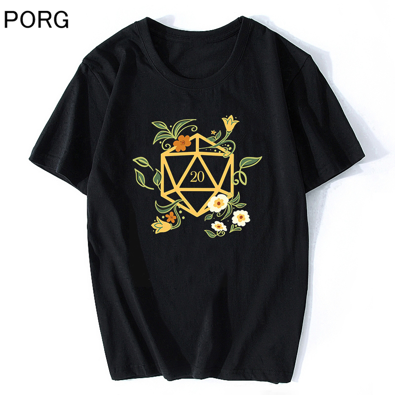 Plant Lovers Polyhedral D20 Dice Tabletop RPG Dungeons And Dragons T Shirt Men Aesthetic Vintage Harajuku Streetwear Shirt
