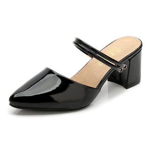 Image 5 - הקיץ לובש סנדלי נקבה 31 גודל קטן 32 גבוהה עקבים 33 עבה עם בנות סטודנטים פטנט עור חלק נעלי נשים