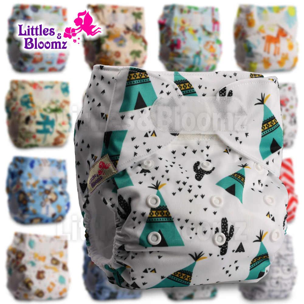 [Littles & Bloomz] Baby Wasbare Herbruikbare Echte Doek Standaard Haak-Loop Pocket Nappy Luier Cover Wrap, suits Geboorte Om Onbenullige