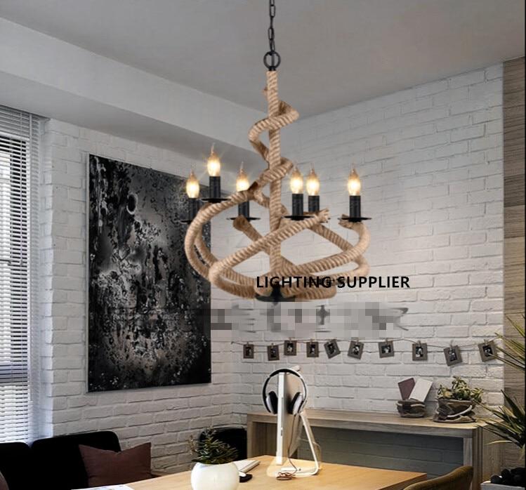 Işıklar ve Aydınlatma'ten Kolye ışıkları'de Amerikan çatı Retro Endüstriyel yaratıcı Dövme demir lamba Restoran  kahve bar oturma odası takım Kenevir halat avize title=