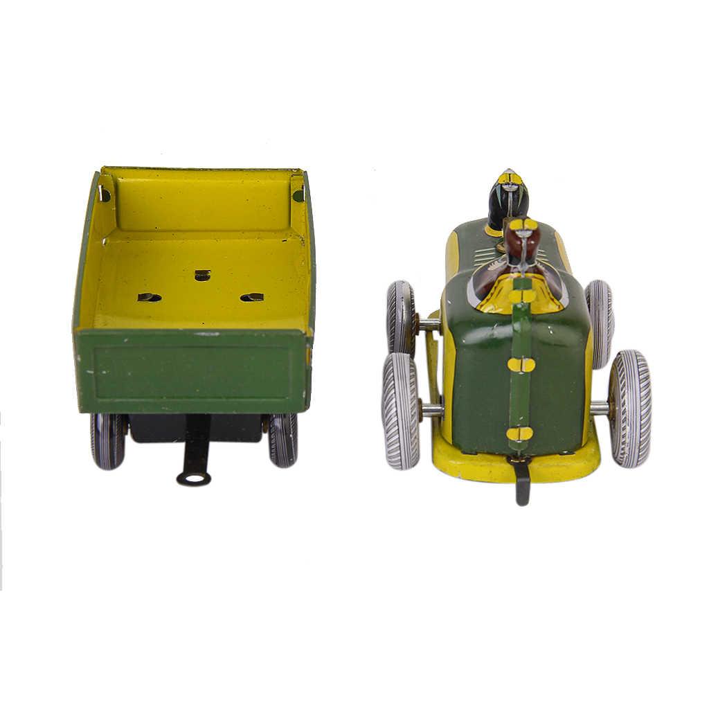 Unisex Vintage Traktor dan Trailer Koleksi Mainan Kaleng dengan Wind-Up Kunci Pendidikan Klasik Mainan Plastik Kuning Hadiah untuk anak