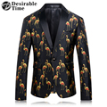 Мужские Черные Этап Пиджаки Размер M-4XL Мода Люди Вскользь Печатных Блейзер One Button Slim Fit Мужчины Платье Костюм Куртка DT186
