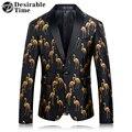 Mens Negro Etapa Tamaño M-4XL Moda Mens Casual Impreso Blazer Blazers Un Botón Slim Fit Hombres Chaqueta de Traje de Vestir DT186