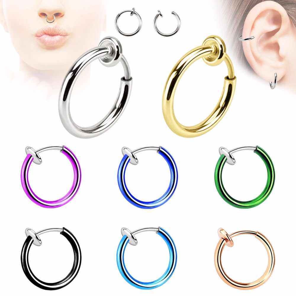 QCOOLJLY 2017 Fashion Hot Sale 12 Colors Stealth Clip On Earrings For Women Men NO Hole Clip Earrings ear Cuff Nose Clips