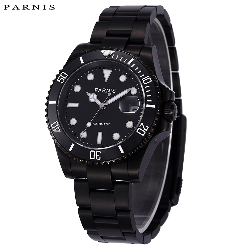 Men's PARNIS Mechanical Black Full Stainless Steel Watches Parnis 40mm Automatic Wristwatch For Men Rotating Bezel Auto Calendar top brand luxury mens mechanical watches parnis 41mm full stainless steel automatic watch men rotating bezel luminous wristwatch