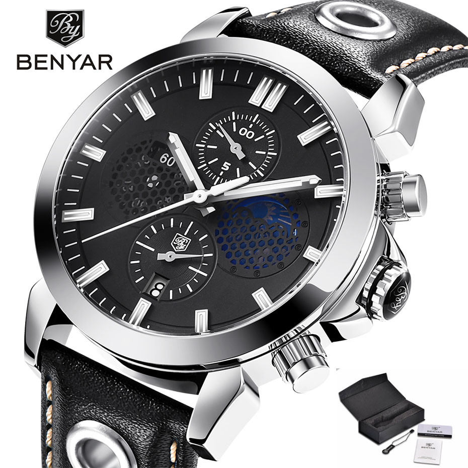 BENYAR Chronograph Men Wristwatch Luxury Business Genuine Leather Band Quartz Male Watches Jewelry Auto Date Display Clock Gift benyar sport men quartz wristwatch date chronograph calendar dial mesh stainless steel band cost effective male watches gift