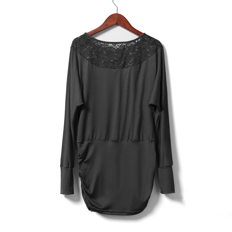 Žene Čipka šivanje šifon bluze labav tip Slash vrat majice - Ženska odjeća - Foto 4