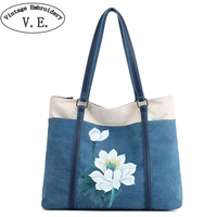 Vintage Embroidery Women Hand Painted Shoulder Bag Canvas National Large Capacity Bags Ladies Casual Beach Handbags Bolsos Mujer