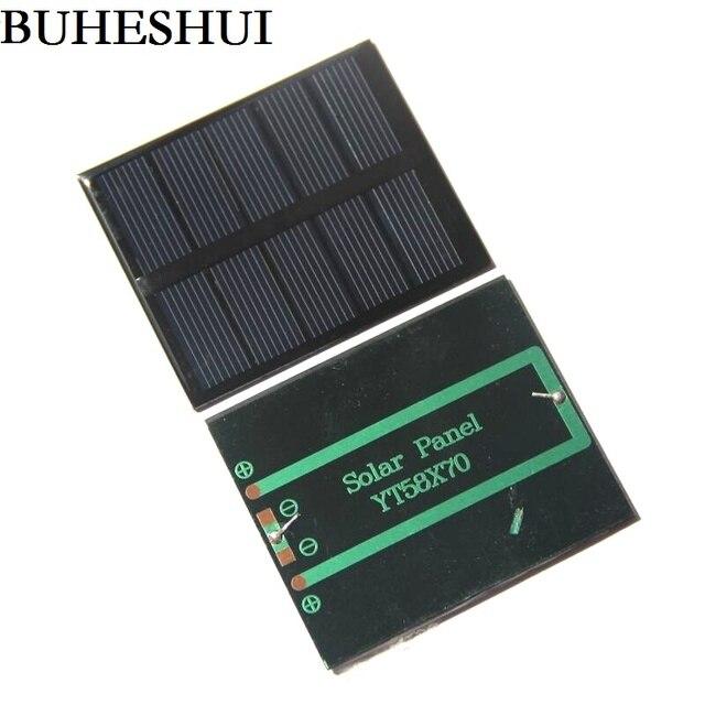 """שמש נייד Mini 0.5 W 2.5 V פנל סולארי BUHESHUI אפוקסי פנל מטען סולארי Polycrystalline פנל צעצוע DIY 58*70*3 מ""""מ 2 יח\חבילה"""