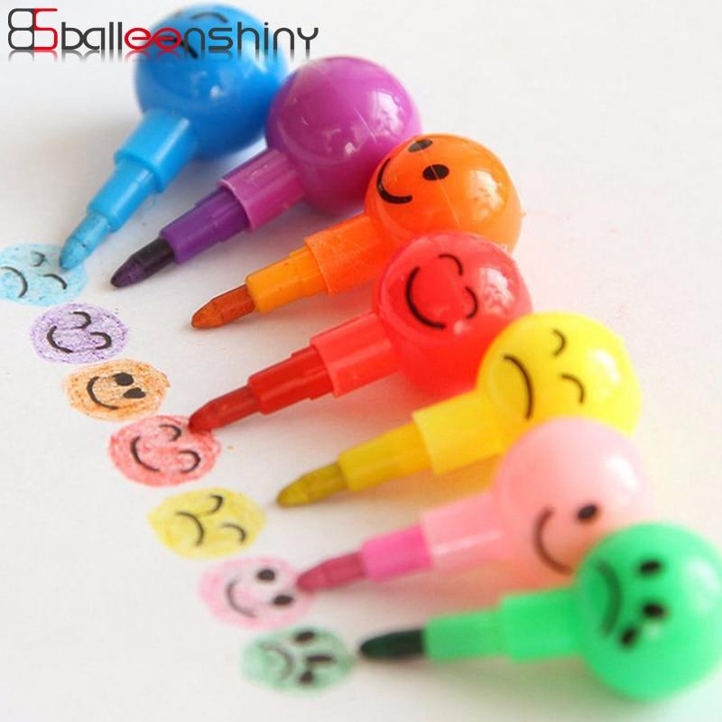 Balleenshiny 5pcs Cartoon Expression Wax Crayon Baby Drawing Painting Toys Graffiti Children Kids Creative Sugar Gourd Crayon