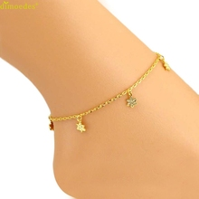 Diomedes Newest Flowers Women Ankle Bracelet Barefoot Sandal Beach Foot Jewelry Anklet Trendy Golden Color Summer
