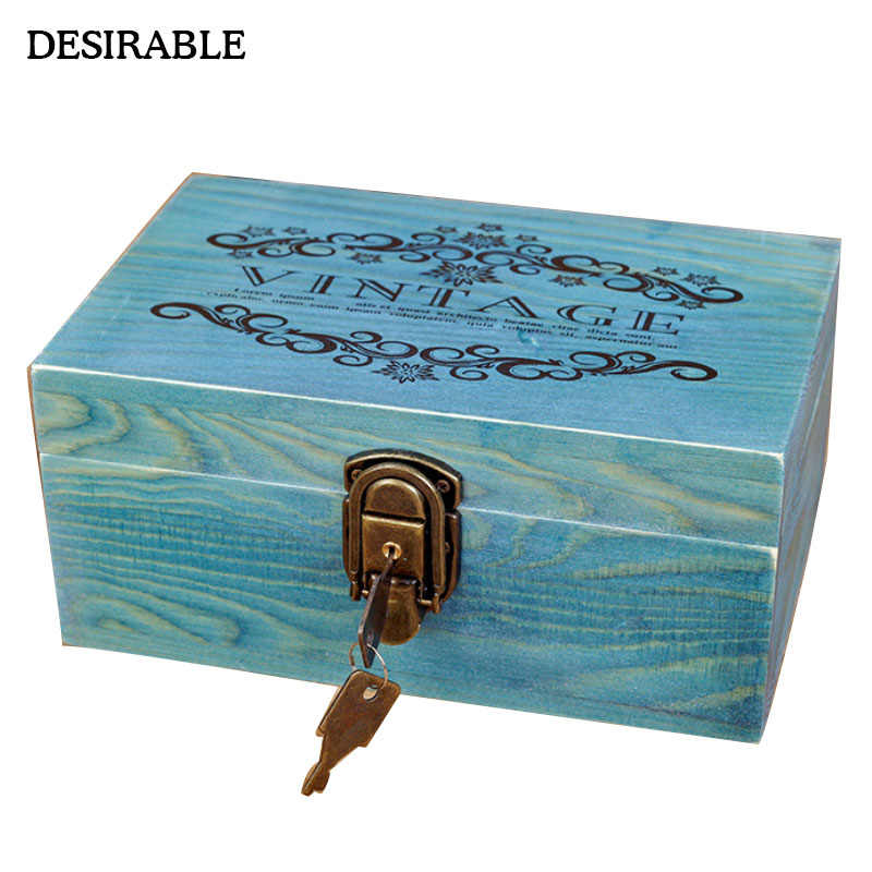 Zakka vintage solid wood box with lock European letter tri-color jewelry treasures secret small items storage consolidation wood
