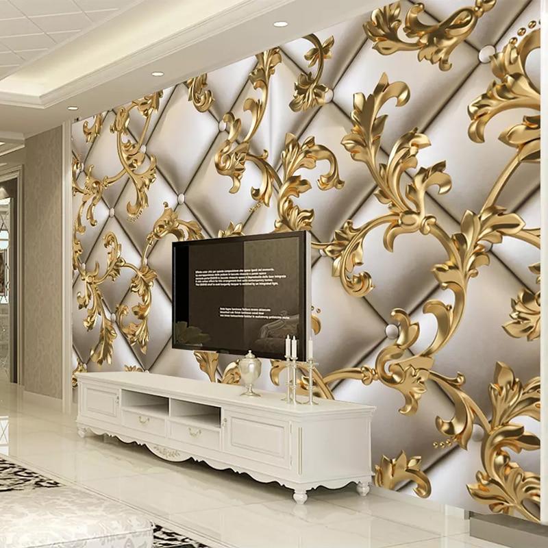 Custom Mural Wallpaper 3D Soft Package Golden Pattern European Style Living Room TV Background Wall Papers Home Decor Flower