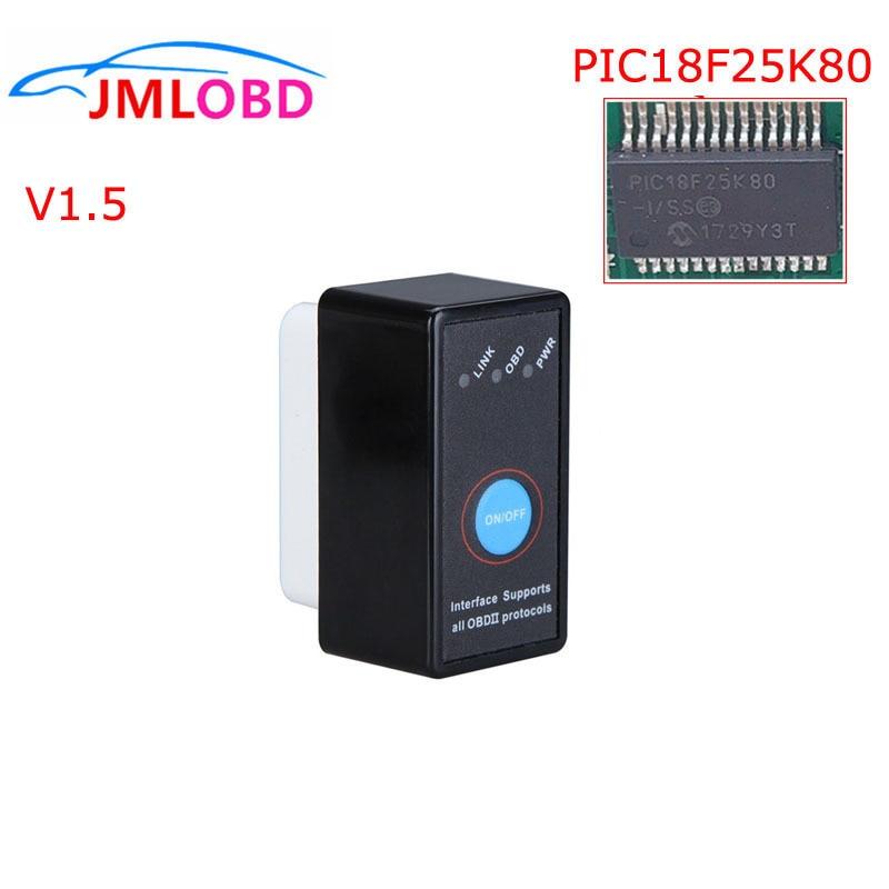 Neue Mini OBD2 ELM327 Schalter Auf/Off mit PIC18F25K80 Chip Hardware V 1,5 ULME 327 Bluetooth Android Windows Diagnose werkzeug