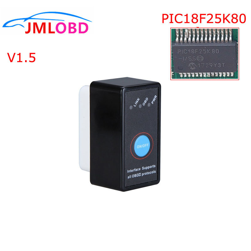 New Mini OBD2 ELM327 Switch On/Off With PIC18F25K80 Chip Hardware V1.5 ELM 327 Bluetooth Android Windows Diagnostic Tool