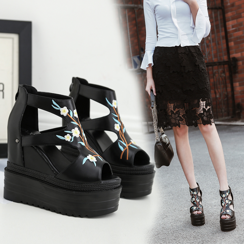 Summer new super high heel with fish mouth female sandals thick bottom sponge cake waterproof table floral female sandals.