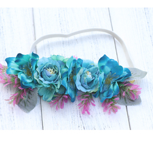 Light blue Flower Garland Floral Bridal Headband Elastic Hairband Wedding Prom Hair Bands Accessories For Girls