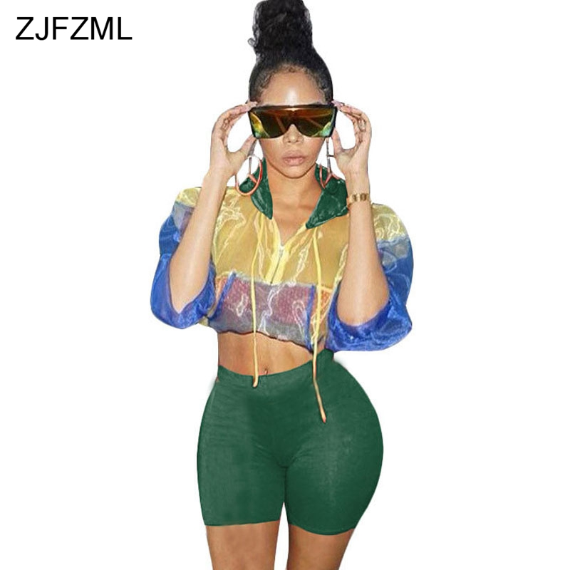 ZJFZML Streetwear Two Piece Set Women's Costumes Contrast Color Hooded Crop Top And Skinny Shorts Female Suits Autumn Sweatsuits
