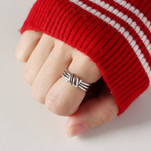 Silvology 925 Sterling Silver Vintage Bandage Tie Rings Texture Industrial Style Elegant Open For Women Jewelry