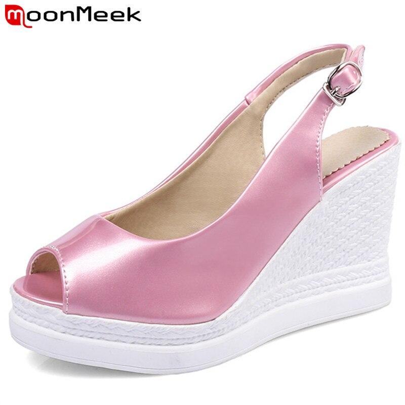 MoonMeek 2018 new arrive women sandals fashion solid color summer high heels sandals simple wedges shoes elegant peep toe buckle цена