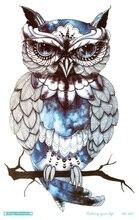 MC691 19X12cm HD Large Tattoo Sticker Body Art Glass Cool OWL Temporary Tattoo Terrorist Stickers Flash Taty Tatoo