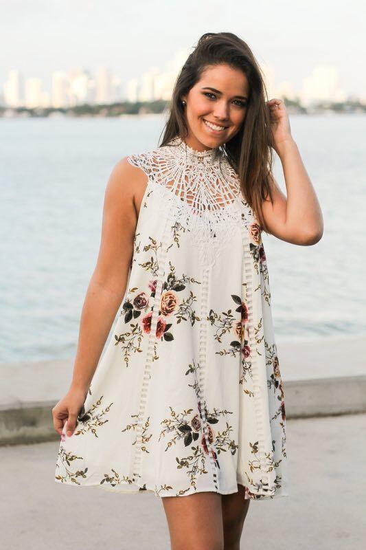 Váll Boho Fehér virágmintás Maxi rövid ruha Női Üreges Őszi - Női ruházat