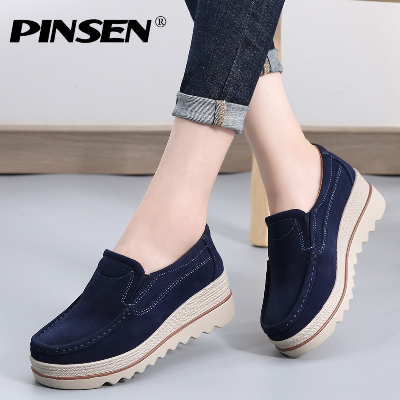 PINSEN 2018 Winter Women Flats Shoes Platform Sneakers Leather Suede Casual Shoes Woman Slip-on Flats Creepers Heels moccasins genuine suede leather women s platform sneakers 2018 women slip on flats creepers moccasins woman casual shoes black pink gray
