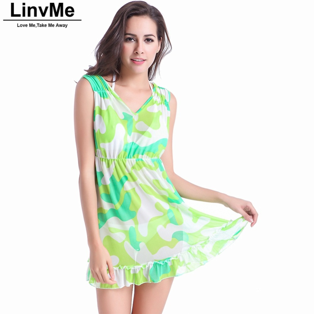 Linvme 2018 Print Cover-ups Women Overskirt Beach Cover Up Sexy Floral Beach Beach Robe Tunic Sarong Bathing Suit S M L XL