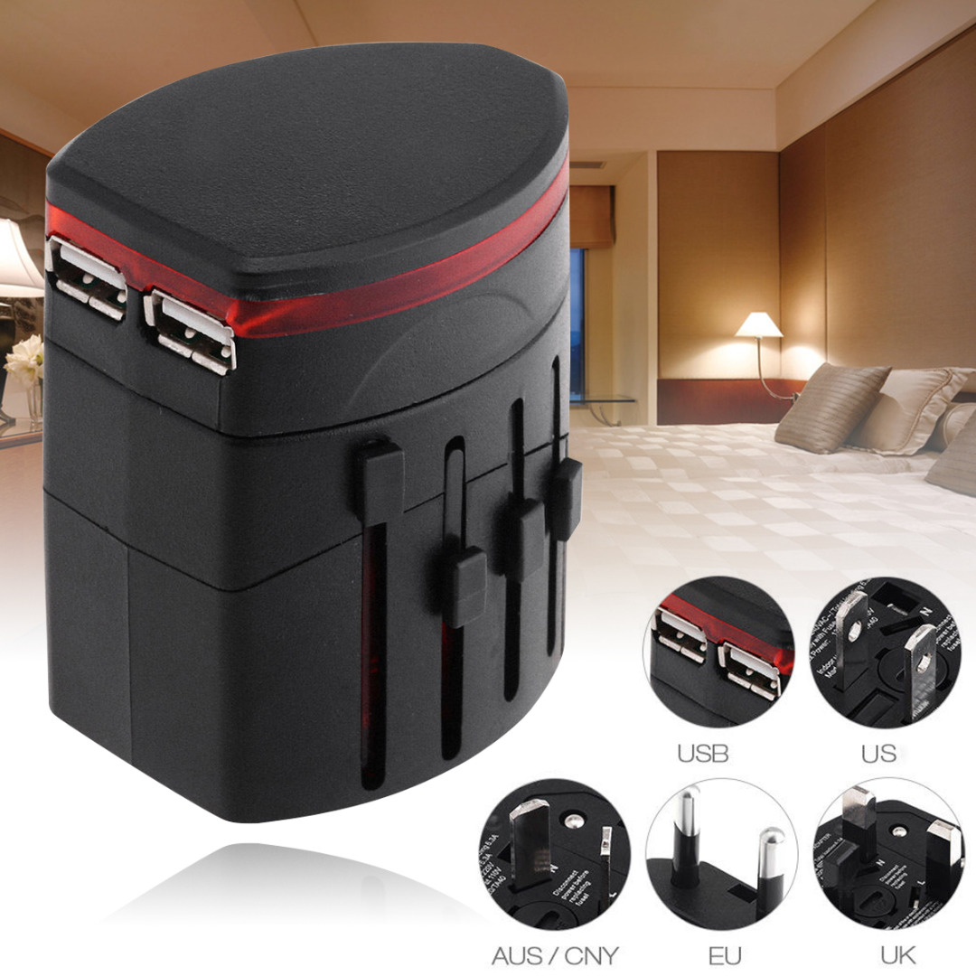 All in One Universal World Travel Power Adapter Wall Charger Conversion Socket Dual USB Port With US UK EU AU/CNY Plugs