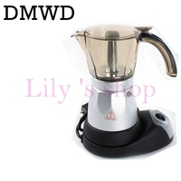 DMWD Electric Coffee Machine Automatic Stovetop Coffee Maker Household Mini Espresso Percolator Mocha Coffee Kettle 500ml