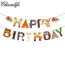 Chicinlife 1set Happy Birthday Jungle Safari Themed Banner Animal Party Home Baby Shower Hanging Decoration Supplies